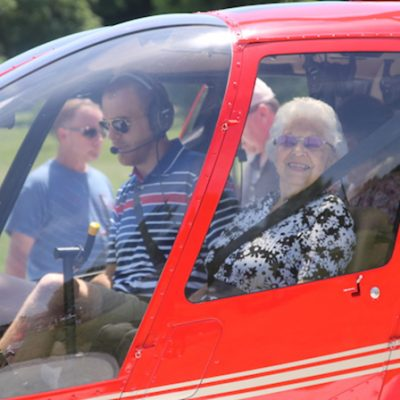 Myra Holderfield taking first helicopter ride at 92
